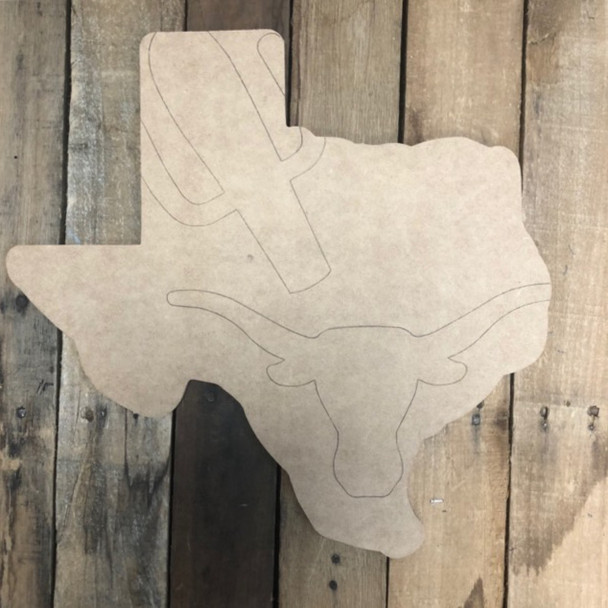 Texas State with Longhorn Cutout, Unfinished Wall Decor Paint by Line