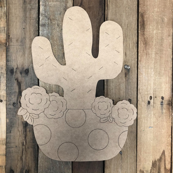 Cactus in Pot with Flowers Cutout Wall Art, Wood Cutout, Paint by Line