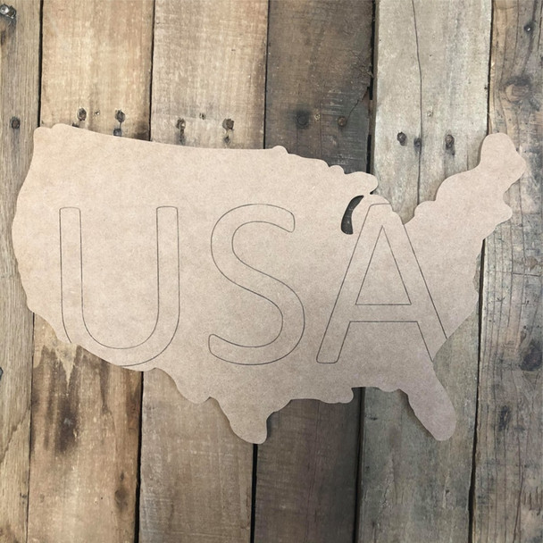 USA State Cutout, Unfinished Wall Decor Paint by Line