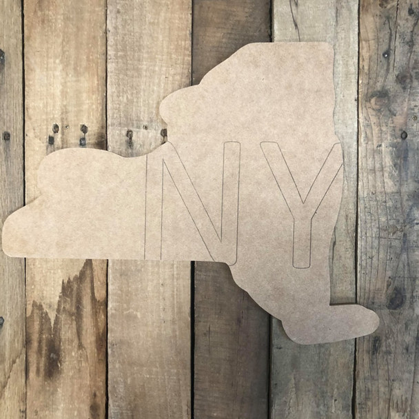 New York NY State Cutout, Unfinished Wall Decor Paint by Line