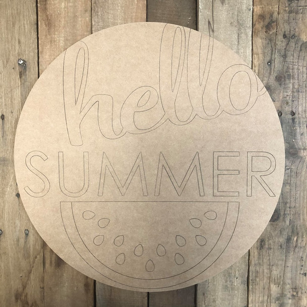 Hello Summer Circle Wall Art, Wood Cutout, Paint by Line