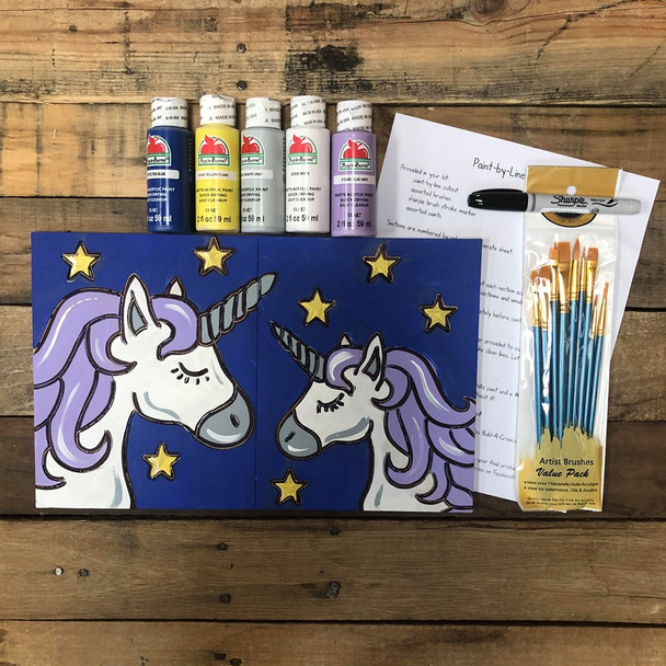 Unicorn, Mommy & Me Paint Kit, Video Tutorial and Instructions