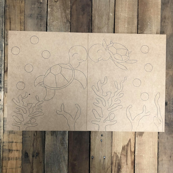 Sea Turtle Painting for Two, Unfinished Wood Painting, Paint by Line