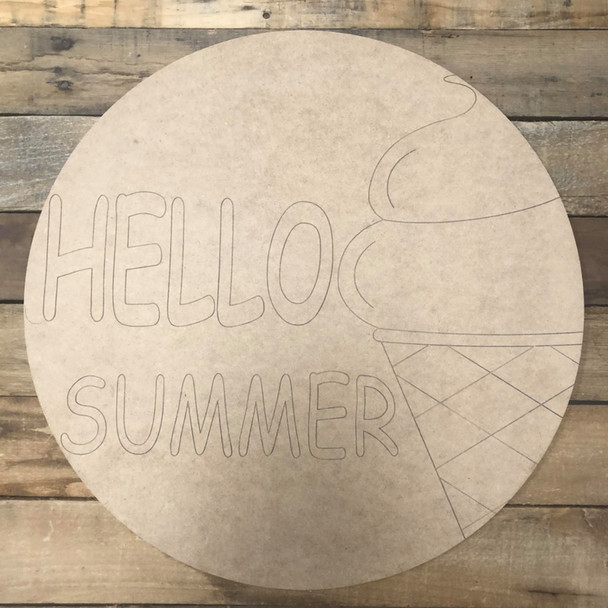Hello Summer Circle, Wood Cutout, Shape Paint by Line