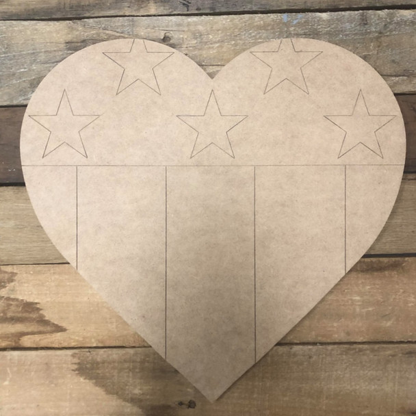 American Heart, Wood Cutout, Shape Paint by Line
