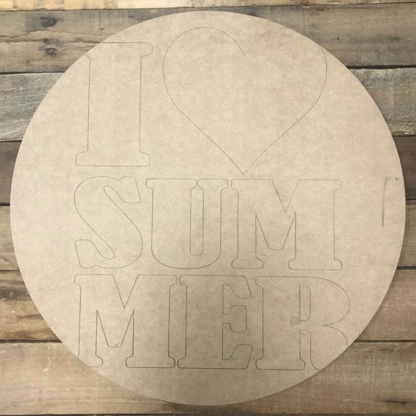 I Love Summer Circle, Wood Cutout, Shape Paint by Line