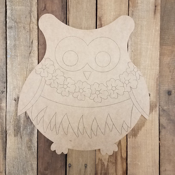 Hawaiian Luau Owl, Paint By Line, Engraved Summer Art Craft
