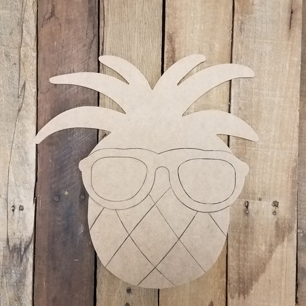Pineapple with Glasses, Paint By Line, Engraved Summer Art