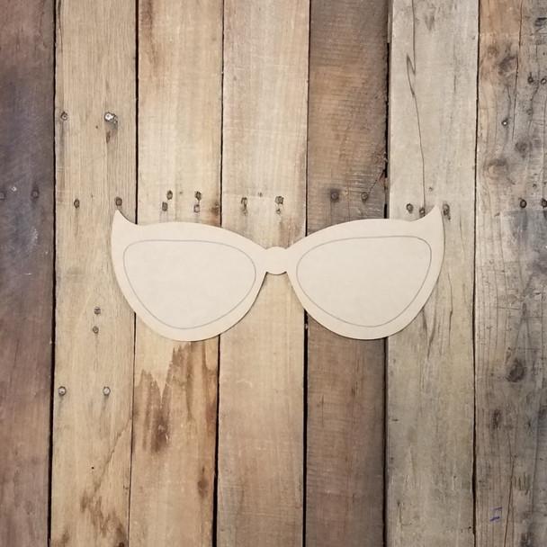 Summer Sunglasses Plain, Wood Cutout, Shape Paint by Line