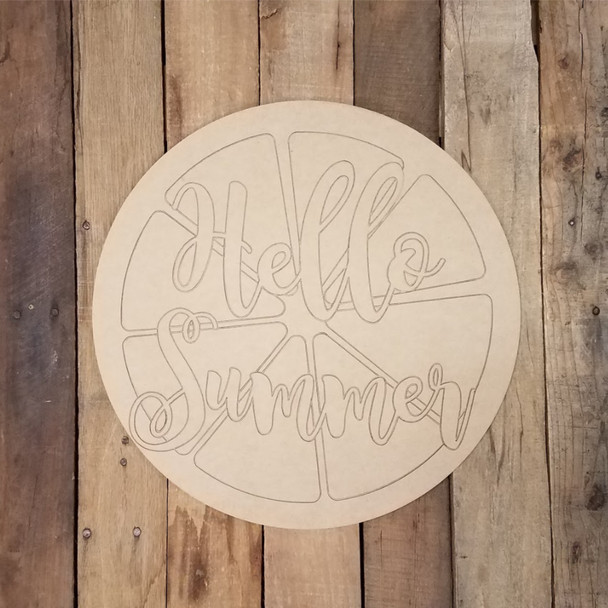 Citrus Fruit Slice Hello Summer Circle, Wood Shape Paint by Line