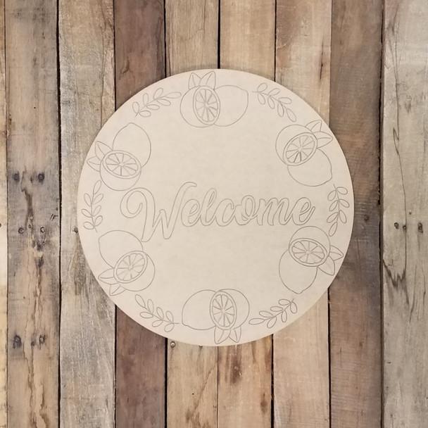 Welcome Lemon Wreath Circle Plaque, Wood Shape Paint by Line