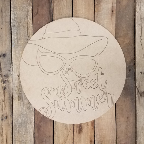 Sweet Summer Sun Hat Circle Plaque, Wood Shape Paint by Line