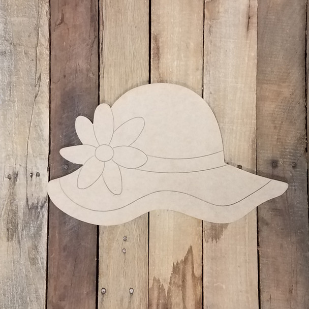 Sun Hat Summer Craft Cutout, Unfinished Decor Paint by Line