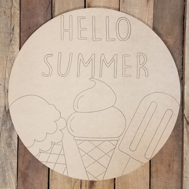 Hello Summer Ice Cream Circle Plaque, Wood Shape Paint by Line