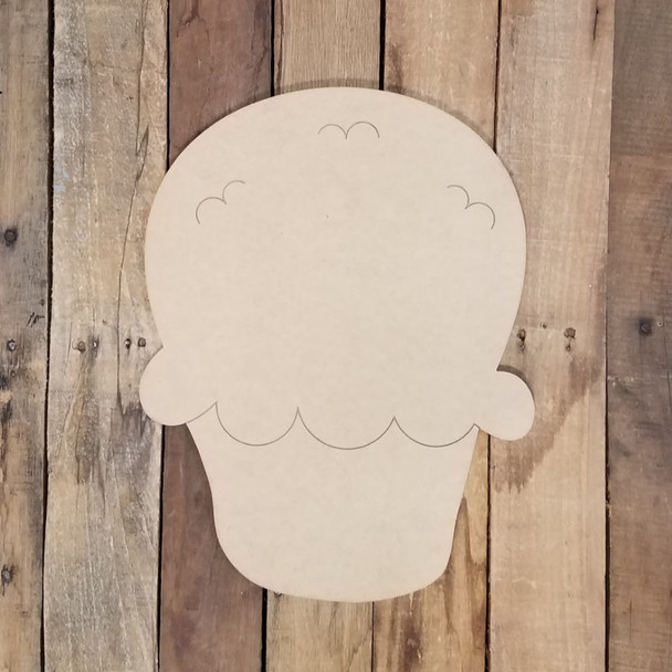 Plain Muffin, Unfinished Wooden Cutout Craft, Paint by Line