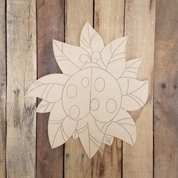 Ladybug on Leaf Art Shape, Unfinished Craft, Paint by Line