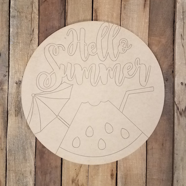 Hello Summer Watermelon Drink Circle, Wood Shape Paint by Line