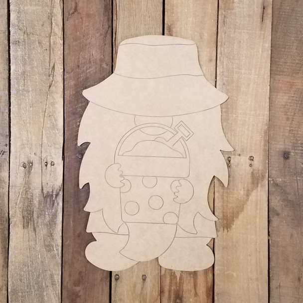 Beach Gnome With Sand Bucket Unfinished Paint By Line Craft Shape