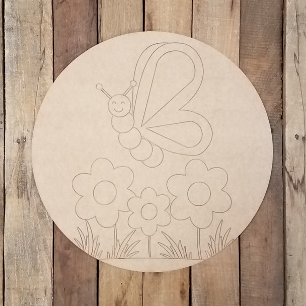 Spring Butterfly and Flowers Circle, Wood Art Craft Shape Paint by Line