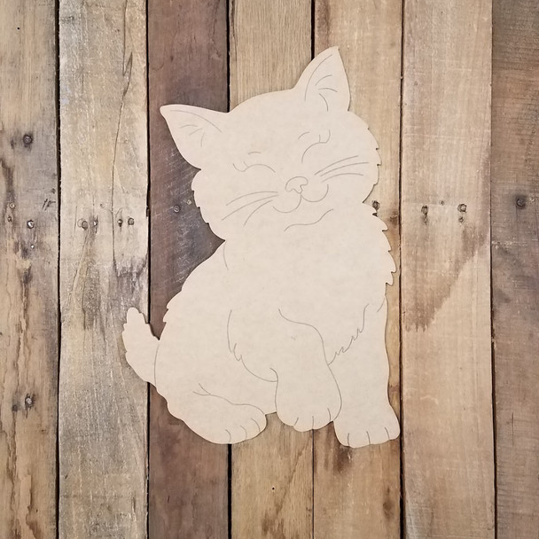 Fluffy Pet Cat Wood Cutout, Unfinished Craft, Paint by Line