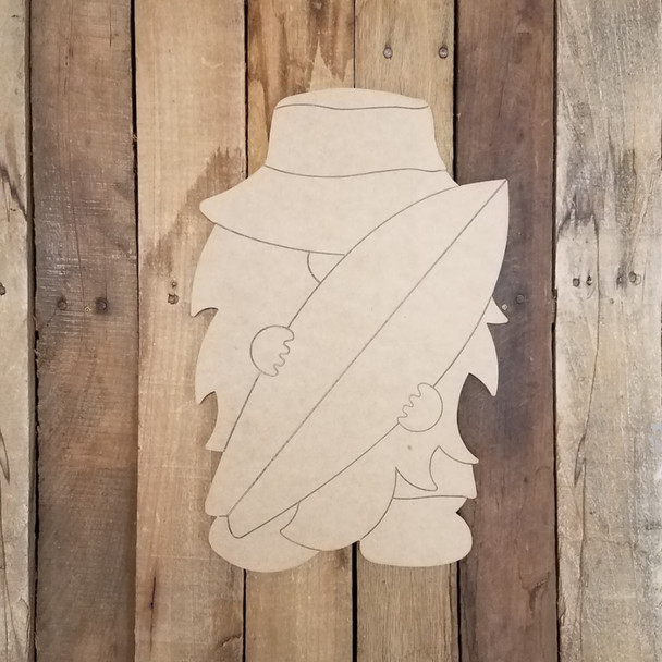 Beach Gnome With Surfboard Unfinished Paint By Line Craft Shape