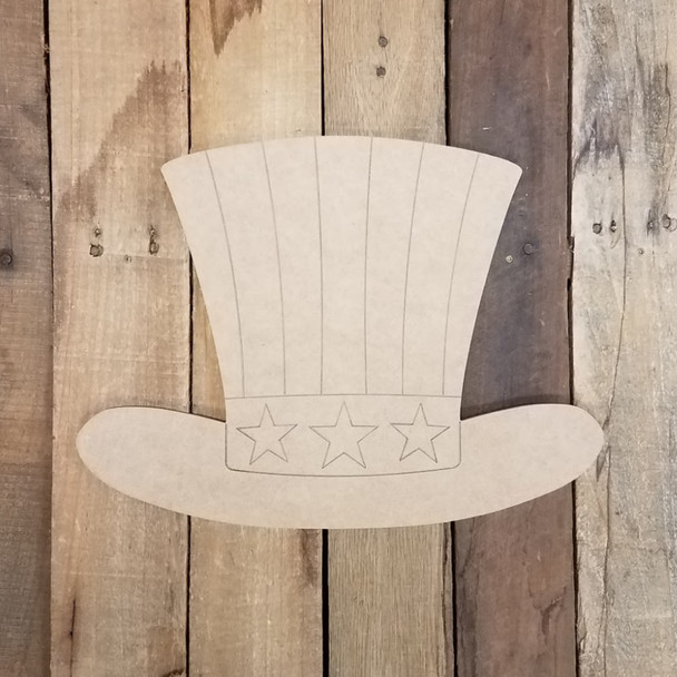 Top Hat with Stars Patriotic, Wood Cutout, Shape Paint by Line