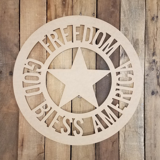 Freedom Circle With Star God Bless America Unfinished DIY Art Craft Shape
