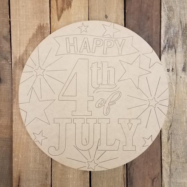 4th of July Patriotic Circle Plaque Shape Cutout, Patriotic Paint by Line Craft