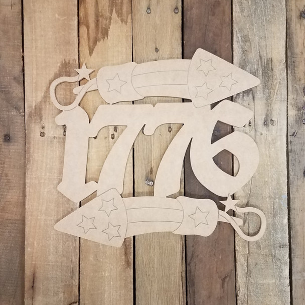 1776 Rocket Independence Day Banner, Patriotic Paint by Line Craft