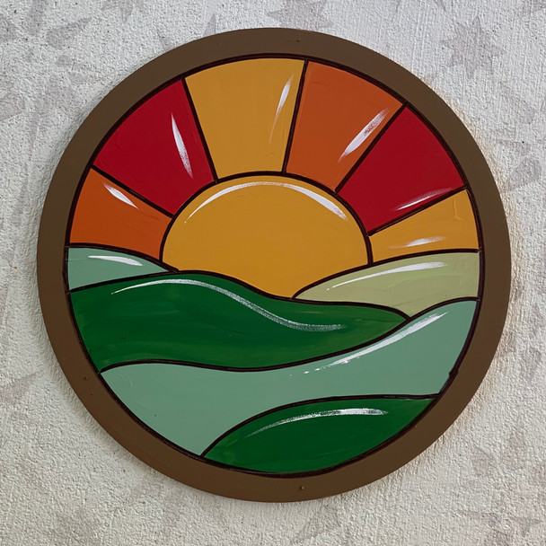 Circle Stained Glass Sky Scene, Unfinished Shape, Paint by Line