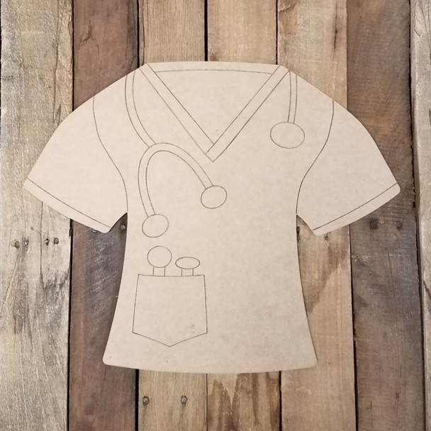 Scrub Shirt with Stethoscope, Unfinished Craft, Paint by Line