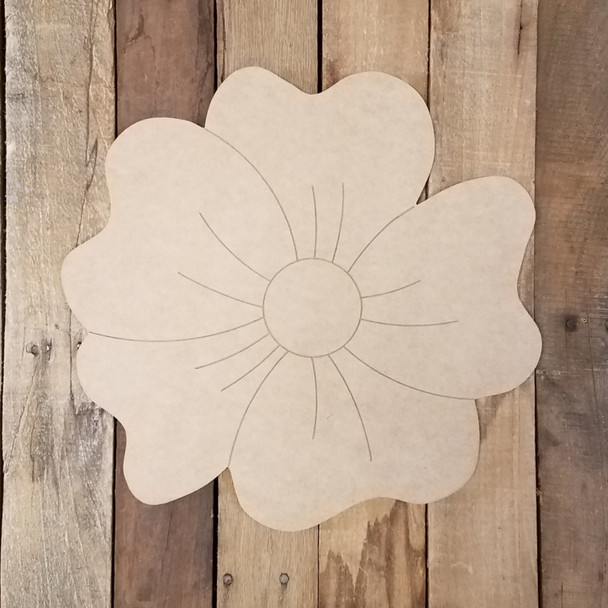 Tropical Flower Summer Wooden Shape, Paint by Line