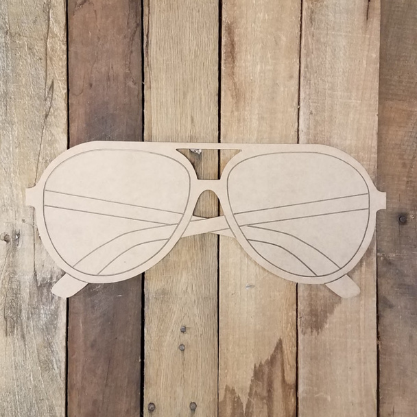 Aviator Style Beach Sunglasses, Wood Cutout, Shape Paint by Line