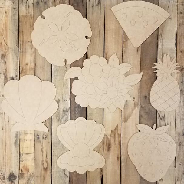 Fancy Summer Plaque Seasonal Kit, Unfinished Shape, Paint by Line Set