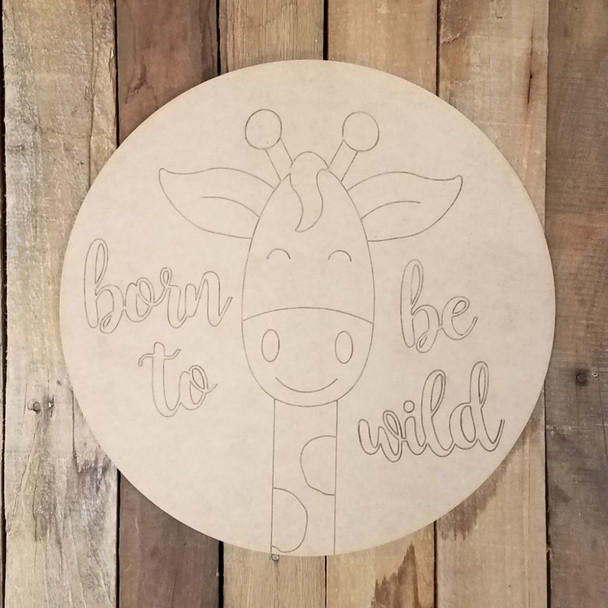 Giraffe Born To Be Wild Circle, Wood Art Craft Shape Paint by Line
