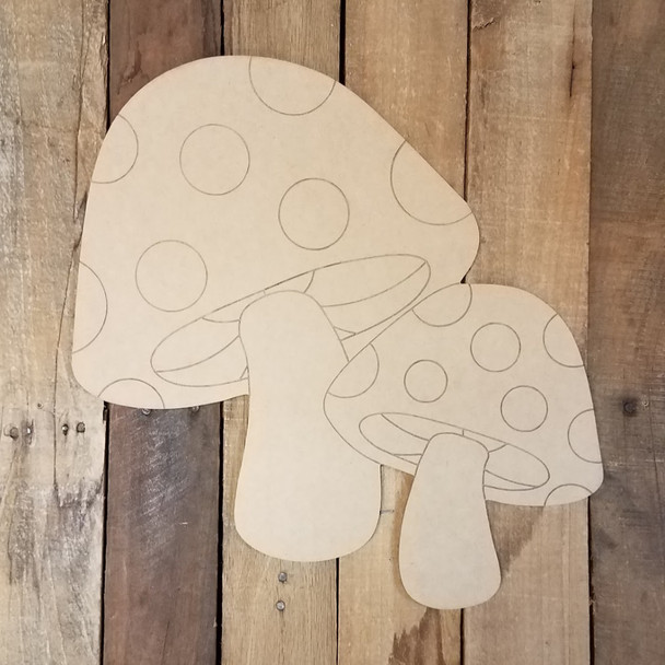 Two Mushrooms with Spots Craft Shape Paint by Line