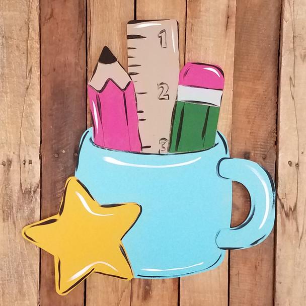 Teacher Desk Cup Cutout, Unfinished Shape, Paint by Line