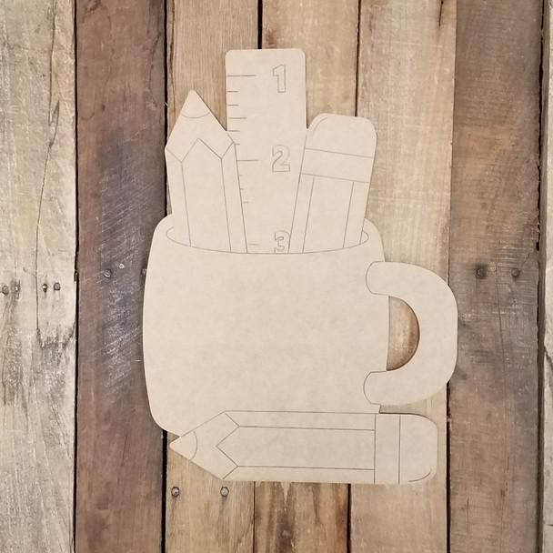 Desktop Pencil Cup Cutout, Unfinished Shape, Paint by Line