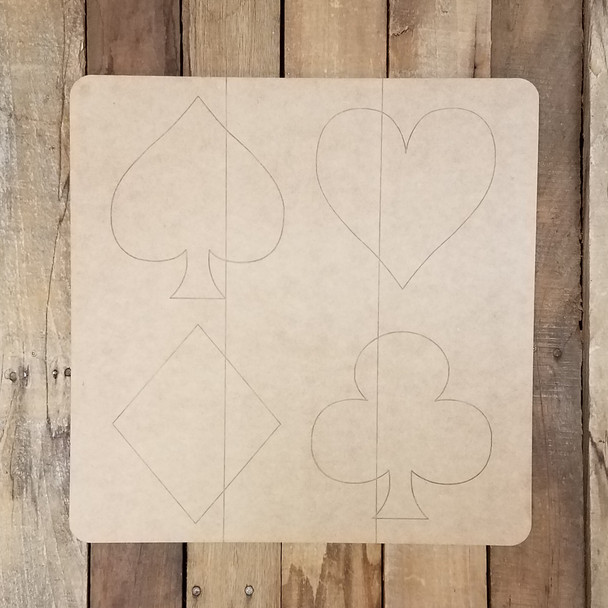Playing Card Suits Sign, Wooden Paintable, Paint by Line