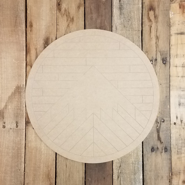 Geometric Art Mountain Circle, Unfinished Wood Shape