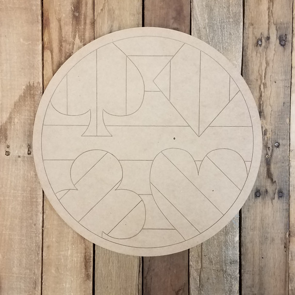 Playing Card Suits Wall Decor Circle, Unfinished Paint by Line