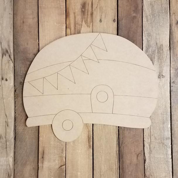 Camper Seasonal Set Wood Cutout, Unfinished Shape, Paint by Line