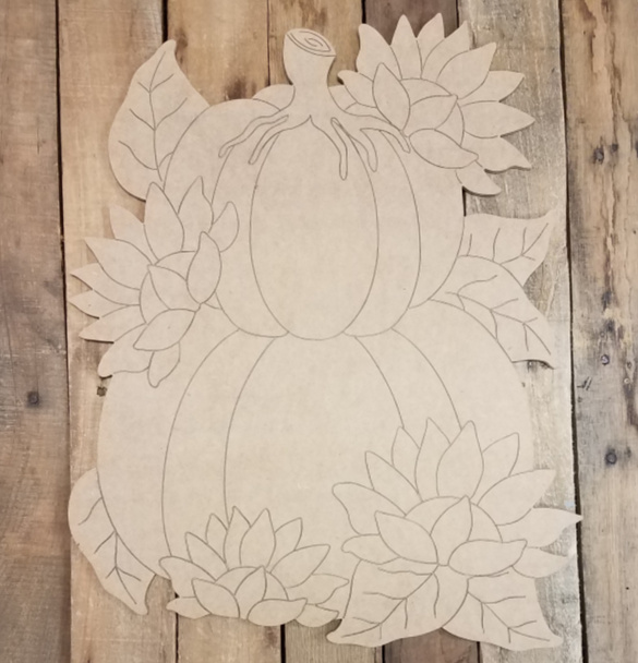 Stacked Pumpkins with Sunflowers, Unfinished Shape, Paint by Line