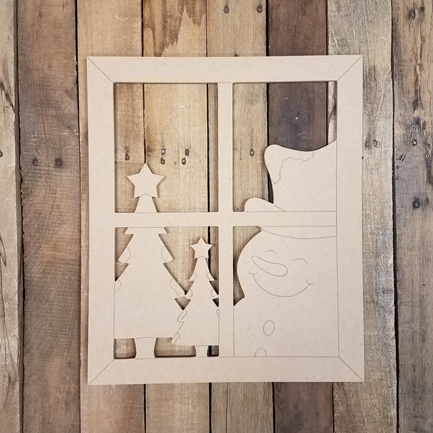 Winter Window Scene With Snowman, Unfinished Paint by Line Shape