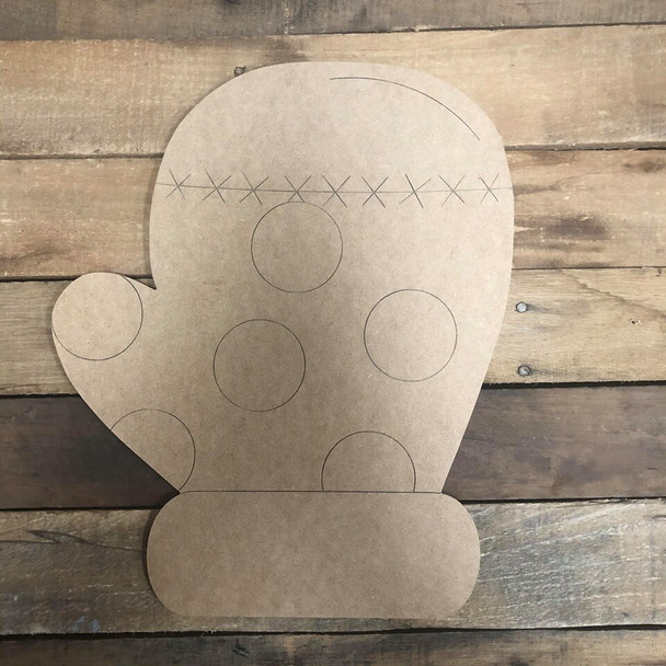 Mitten Wood Cutout, Unfinished Shape, Paint by Line
