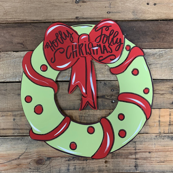 Christmas Wreath With Bow, Unfinished Wooden Craft, Paint by Line