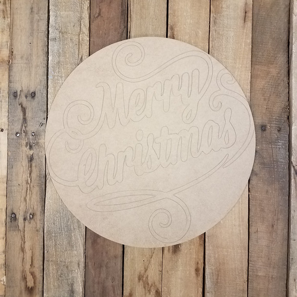 Merry Christmas Decorative Circle, Wood Cutout, Shape, Paint by Line