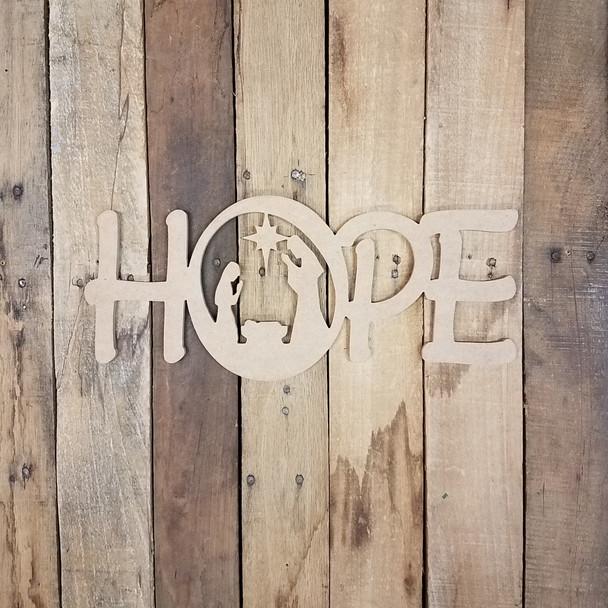 Hope Word Nativity Scene Wood Cutout, Unfinished  DIY Craft