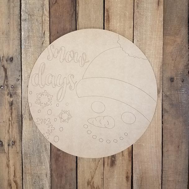 Snow Days Snowman Circle Cutout, Unfinished Shape, Paint by Line