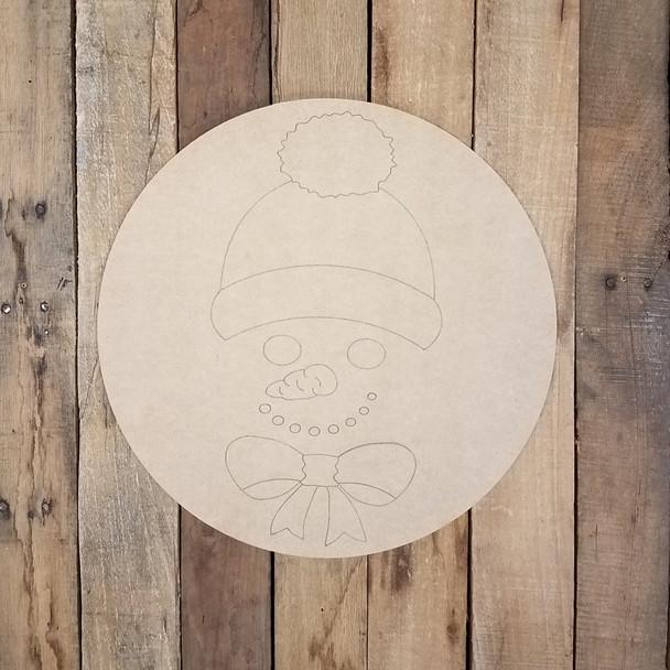 Snowman Face Circle Cutout, Unfinished Shape, Paint by Line